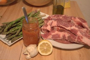 BBQ Pork Ribs and Lemon Garlic Grilled Asparagus