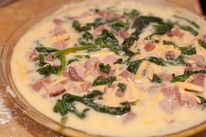 Spinach, Ham, and Cheddar Quiche. Everything you need in one delicious pie dish!