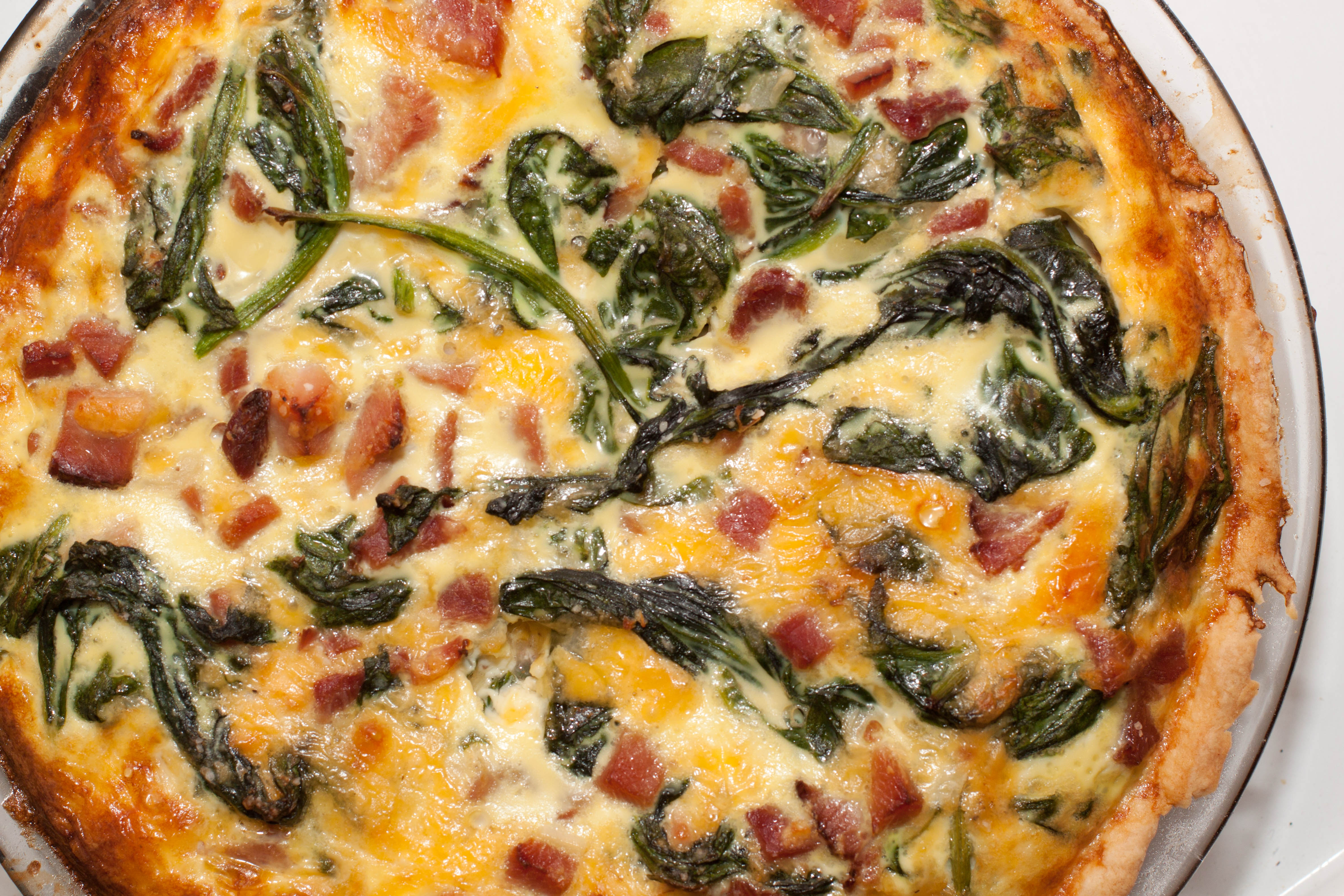 Spinach ham and cheddar quiche served from scratch for Quiche not setting