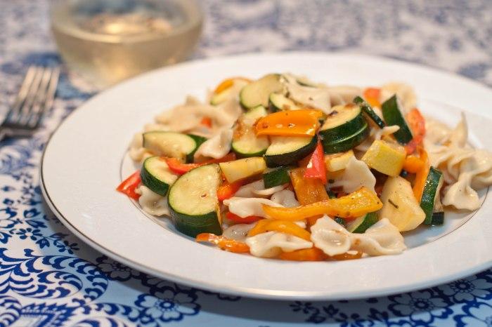 Homemade Farfalle Pasta with summer veggies