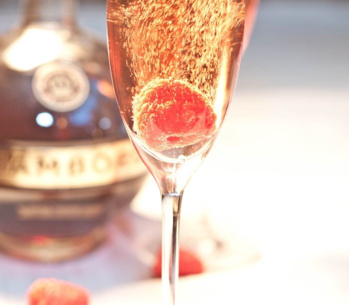 My favorite bubbly cocktail, a French Kiss!