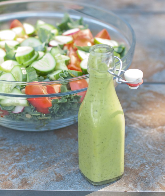 Vegan Green Goddess Salad Dressing made in 5 minutes and from scratch!