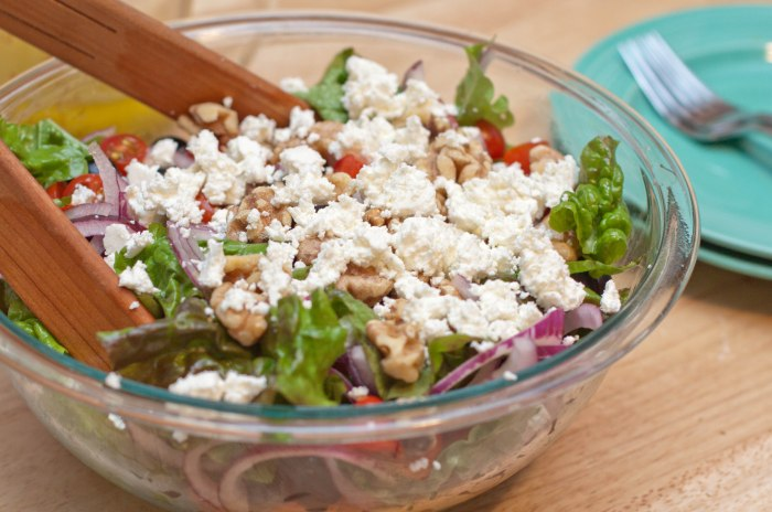 A super hearty Greek-ish Salad with homemade Feta Cheese