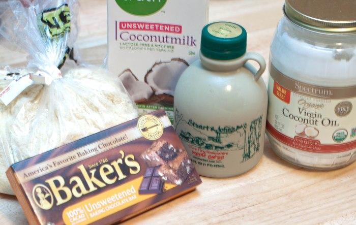 almond flour, baker's chocolate, maple syrup, coconut oil, coconut milk